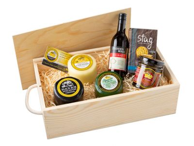 Cheese and wine wooden gift box idea