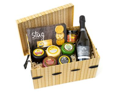 Prosecco and Cheese Hamper Wicker Basket Option