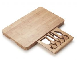 Rectangular Bamboo Cheese Board with 4 Knives