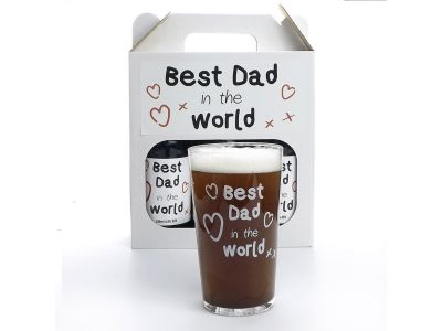 Best Dad in the World Beers and Glass Gift